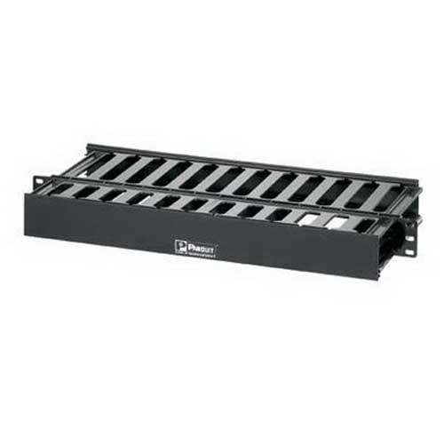 Panduit WMPSE PatchLink™ Front and Rear Horizontal Cable Manager; 1-Rack Unit, ABS Plastic, Black, Powder-Coated