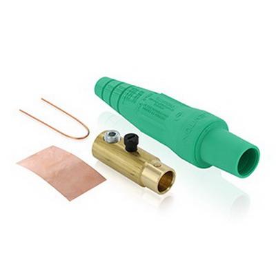 Leviton 16D32-G 16 Series Taper Nose Cam-Type Detachable Plug; 400 Amp, 600 Volt, 1-Pole, Green