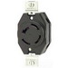 Leviton 7410-BG Locking Blade Single Receptacle; 4-Pole, 4-Wire, 20 Amp, 120/208 Volt, Flush Mount, Black