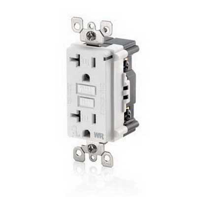 Leviton W7899-TRW SmartlockPro® Weather-Resistant Monochromatic Tamper Resistant GFCI Duplex Receptacle; 2-Pole, 3-Wire, 20 Amp, 125 Volt, 5-20R NEMA, Screw Mount, White