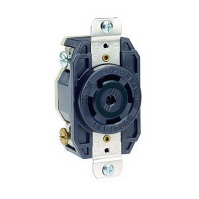 Leviton 2830 V-0-MAX™ Single Locking Blade Receptacle; 4-Pole, 5-Wire, 30 Amp, 347/600 Volt, L23-30R NEMA, Flush Mount, Black