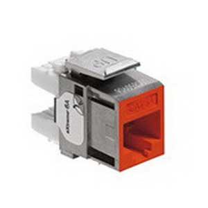 Leviton 6A10G-RO6 eXtreme® Quickport® Component Rated Category 6A Connector; 1 Port, Crimp Connection, Surface/Flush Mount, Fire-Retardant Plastic, Orange