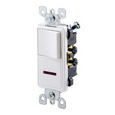 Leviton 5626-W Decora® Commercial Grade AC Combination Switch; 120 Volt, 15 Amp, Thermoplastic, 1 Pole, White