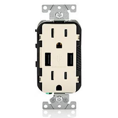 Leviton T5632-T Decora® USB Charger with Tamper Resistant Combination Duplex Receptacle; 15, 3.6 Amp, 125 Volt AC, 5 Volt DC, 5-15R NEMA, Light Almond
