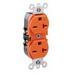 Leviton 5462-IG Extra Heavy Duty Specification Grade Tamper Resistant Straight Blade Duplex Receptacle; 2-Pole, 3-Wire, 20 Amp, 250 Volt, 6-20R NEMA, Box Mount, Orange, Isolated