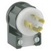 Leviton 4720-CA #1CD Angled Locking Plug; 2-Pole, 3-Wire, 15 Amp, 125 Volt, NEMA L5-15P, Cable Mount, Black and White