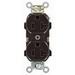 Leviton BR20-S Narrow Body Straight Blade Duplex Receptacle; 2-Pole, 3-Wire, 20 Amp, 125 Volt, 5-20R NEMA, Wall Box Mount, Brown