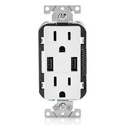 Leviton T5832-W USB Charger with Tamper Resistant Duplex Receptacle; 20 Amp, 125 Volt, 5-20R NEMA, White