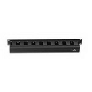 Leviton 491RU-HFO Front Horizontal Slotted Duct With Hinged Cover; 19 Inch, PVC, Black