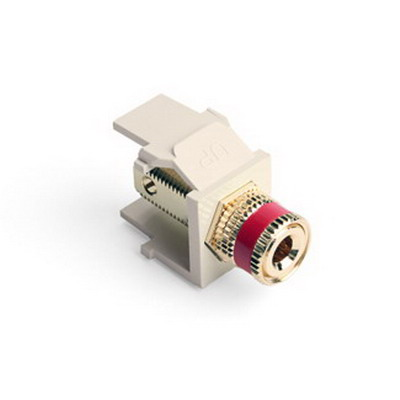 Leviton 40833-BTR QuickPort Bulkhead Binding Post Connector Feedthrough/Screw Terminal Surface/Flush Plastic Red Stripe Light Almond Housing 5-15 um Gold Flash-Plated