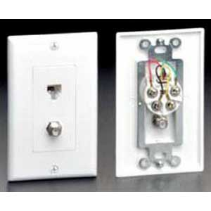 Leviton 40959-T Decora® Extreme TV/Phone Combination Jack; 1-6 Position 4-Conductor, 1-F Jack, Light Almond, Wall Mount