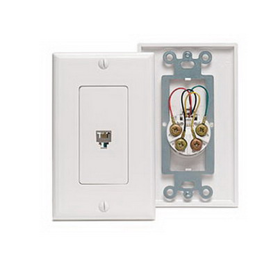 Leviton 40949-T Decora® Type 625 Modular Single Telephone Wall Jack Assembly; Screw Connection, 6-Positions, 4-Contacts, Flush Mount, Light Almond
