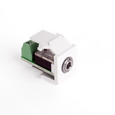 Leviton 40839-SWS QuickPort® 3.5-mm Stereo Snap-In Connector; Female to Screw Terminal, Fire-Retardant Plastic, White