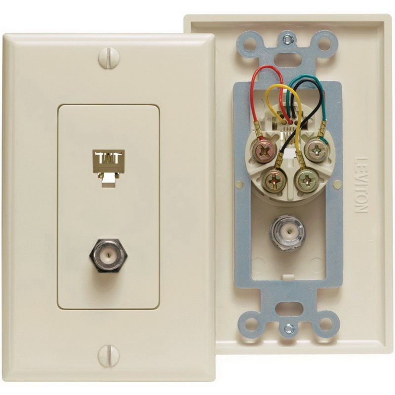 Leviton 40959-I Decora® Extreme TV/Phone Combination Jack; (1) Coax, (1) 6 Position Jack, Ivory, Wall Mount