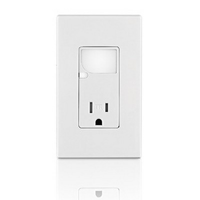 Leviton T6525-T Decora® Combination Tamper Resistant Receptacle With LED Guide; 15 Amp, 125 Volt AC, 5-15R NEMA, Wallplate Mount, Light Almond