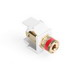 Leviton 40833-BWR QuickPort® Snap-In Binding Post Connector; Feedthrough/Screw Terminal, Surface/Flush, Plastic, Red Stripe, White Housing, 5-15 um Gold Flash-Plated