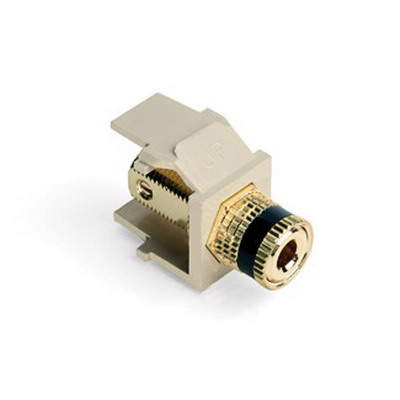 Leviton 40833-BIE QuickPort® Snap-In Binding Post Connector; Feedthrough/Screw Terminal, Surface/Flush, Plastic, Black Stripe, Ivory Housing, 5-15 um Gold Flash-Plated
