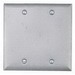 BWF/Teddico BC-2V 2-Gang Weatherproof Blank Cover; Steel, Gray, Box Mount