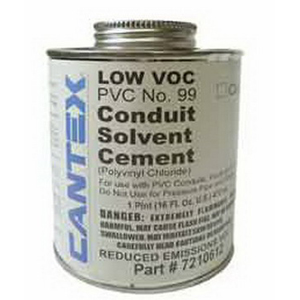Cantex 7210412 All Weather Fast-Dry Conduit Solvent Cement; NEMA TC-13, 40 deg F and Higher, PVC, Clear