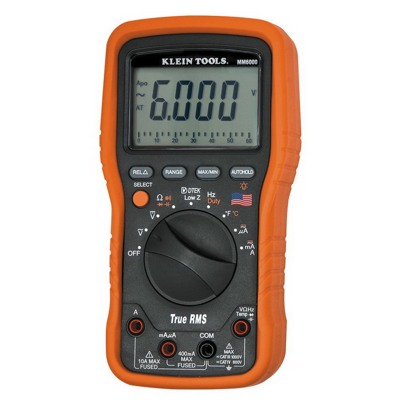 Klein Tools MM6000 Electricians/HVAC TRMS Multimeter; 1000 Volt AC/DC, 10 Amp, 399.9 Kilo Hz, 50 mega-ohm, 6000 Micro-Farad, 6000 Count Back Lit Display