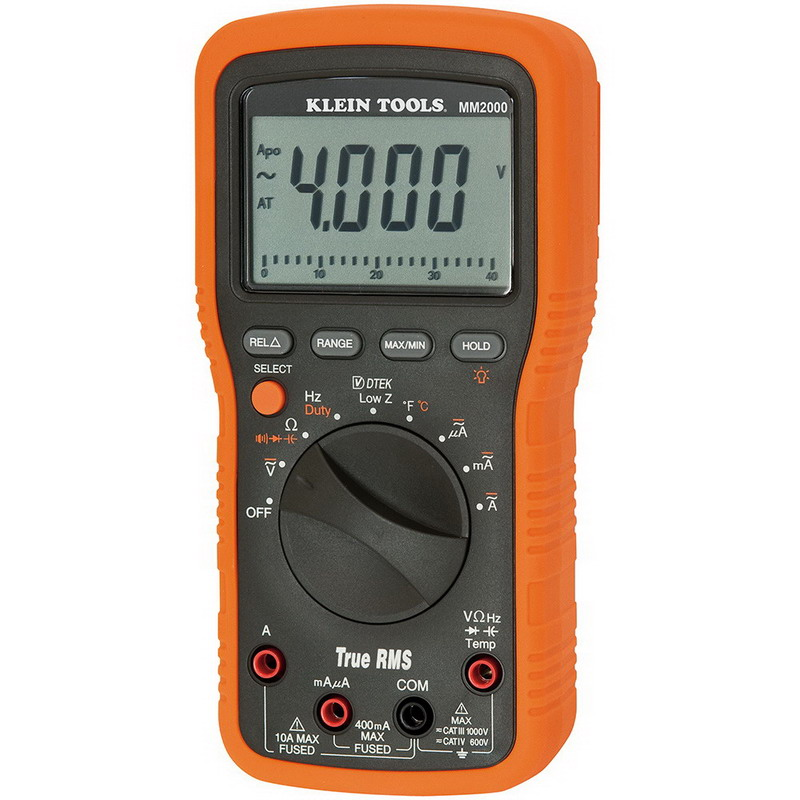 Klein Tools MM2000 Electricians/HVAC TRMS Multimeter; 1000 Volt AC/DC, 10 Amp, 399.9 Kilo Hz, 40 mega-ohm, 4000 Micro-Farad, Back Lit Display