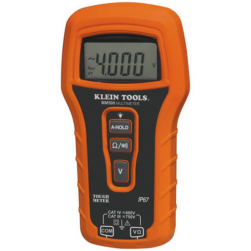 """Klein Tools MM500 Auto Ranging Multimeter 750 Volt AC/DC, 4000 Count LCD Display,"""""""