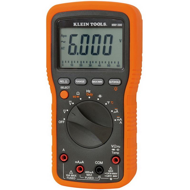 "Klein Tools MM1300 Electricians/HVAC Multimeter 1000 Volt AC/DC, 10 Amp, 399.9 Kilo Hz, 60 mega-ohm, 6000 Micro-Farad, Backlit Display,"""