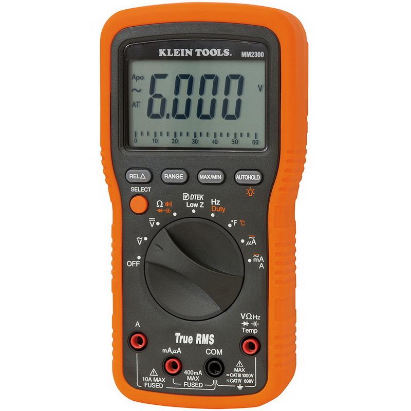 "Klein Tools MM2300 Electricians/HVAC TRMS Multimeter 1000 Volt AC/DC, 10 Amp, 399.9 Kilo Hz, 60 mega-ohm, 6000 Micro-Farad, Backlit Display,"""