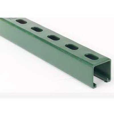 Superstrut B1400HS-20GR Metal Single Channel; 14 Gauge, 20 ft x 1-5/8 Inch x 13/16 Inch, 9/16 Inch x 1-1/8 Inch Slot Size, Half Slot, Steel, Green Epoxy Paint