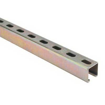 Superstrut A1200HS-20 Metal Single Channel; 12 Gauge, 20 ft x 1-5/8 Inch x 1-5/8 Inch, 9/16 Inch x 1-1/8 Inch Slot Size, Half Slot, Steel, GoldGalv®