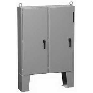 Hammond 2UD605012FFTC Double Door Disconnect Enclosure 50 Inch Width x 12.130 Inch Depth x 60.130 Inch Height  10 Gauge Steel  ANSI 61 Gray/White  Floor Mount  Hinged Cover