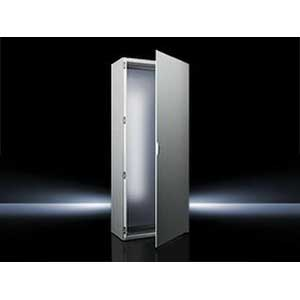Rittal 8606500 Single Door Freestanding Enclosure; 23.600 Inch Width x 23.600 Inch Depth x 78.700 Inch Height, 16 Gauge Sheet Steel, RAL 7035 Light Gray