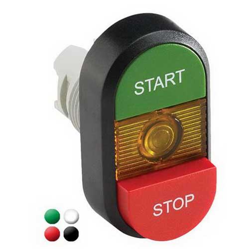 ABB MPD15-11G Illuminated Modular Pilot Device Double Pushbutton; Momentary, Green/Red Actuator, Green Indicator