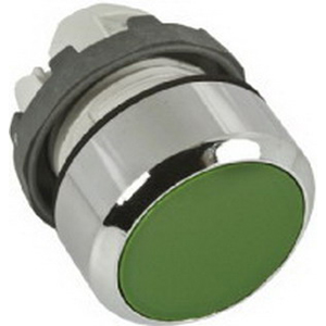 ABB MP1-30G Non-Illuminated Modular Pushbutton With Flush Button; Momentary Action, Chrome Metal Bezel, Polycarbonate Body, Green