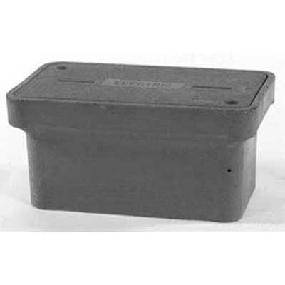 Quazite PG1324BA12 PG Style Stackable Concrete Box With Open Bottom; 24 Inch Width x 12 Inch Depth x 13 Inch Height, Precast Polymer Concrete Fiberglass Reinforced, Concrete Gray