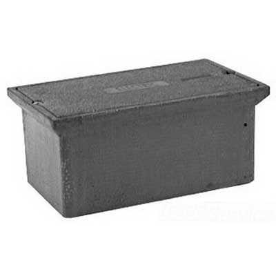 Quazite PC1118BB12 PC Style Stackable Concrete Box With Open Bottom and Mouse Holes; 18 Inch Width x 12 Inch Depth x 11 Inch Height, Precast Polymer Concrete Fiberglass Reinforced, Concrete Gray