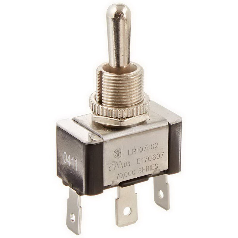 NSI 78070TQ Toggle Switch; 1-Pole, SPDT, 20/10 Amp, 125/250 Volt AC, Brass-Nickel