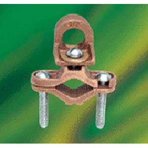 NSI EG-5 Bronze Waterpipe Ground Clamp With Adapter; 1/2 - 1 Inch, 6 AWG stranded