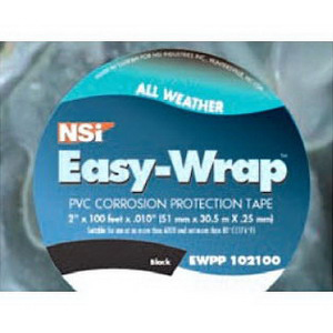 NSI EWPP102100P Easy-Wrap™ Printed All Weather Corrosion Tape; 100 ft Long, 2 Inch Wide, 0.010 Inch Thick, PVC, Black
