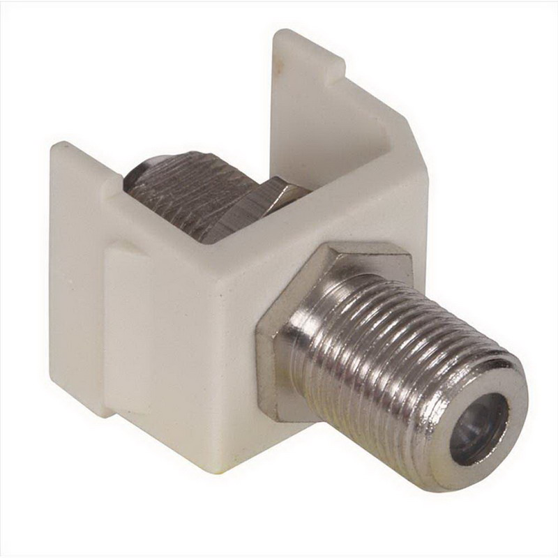 Hubbell Premise SFFALX AV F-Type Bulkhead Coupler; RG-6 and RG-59 - 75 Ohm Coax Cable, Female, Snap-Fit/Screw-On, Polymer Housing, Brass Connector, Almond, Nickel-Plated Contact
