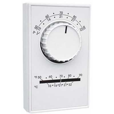 TPI / Raywall ET5DS Line Voltage Thermostat; 120 - 277 Volt AC, 22 Amp, 2-Pole, Wall Mount