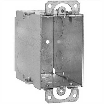 EGS 336 ETP Square Corner Switch Box; 2 Inch Width x 3-1/2 Inch Depth x 3 Inch Height, Steel, 18 Cubic-Inch, 9-Knockouts