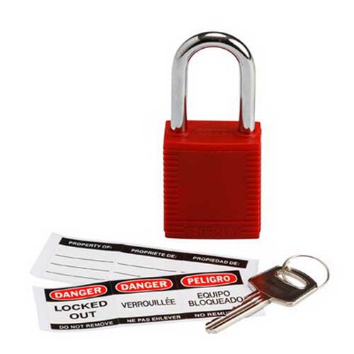 Brady 103533 Safety Padlock; Plastic Lock, Red