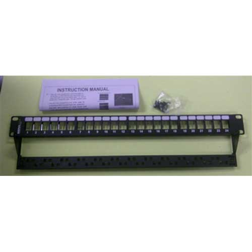 Signamax 24U-HDMMP-C5E 24-Port Field-Configurable Unloaded Patch Panel; Category 5e Cable, 1 Rack Unit, 1.75 Inch High
