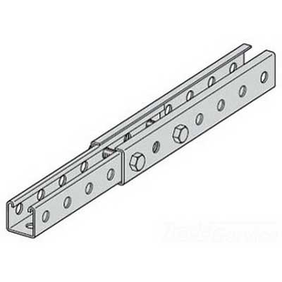 Cooper B-Line BTS22THGALV10 Metal Framing Single Telescopic Slotted Channel; 12 Gauge, 10 ft x 1-7/8 Inch x 1-7/8 Inch, 9/16 Inch Slot Size, All Sides Slotted, Steel, Pre-Galvanized