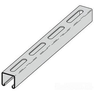 Cooper B-Line B22SGRN20 Metal Framing Single Slotted Channel; 12 Gauge, 20 ft x 1-5/8 Inch x 1-5/8 Inch, 13/32 Inch x 3 Inch Slot Size, Type S Slot, TT-C-490 B Low Carbon Steel, Dura-Green™