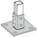 Cooper B-Line B280SQ-ZN Square Centered 4-Hole Post Base; Steel, Zinc Electroplated