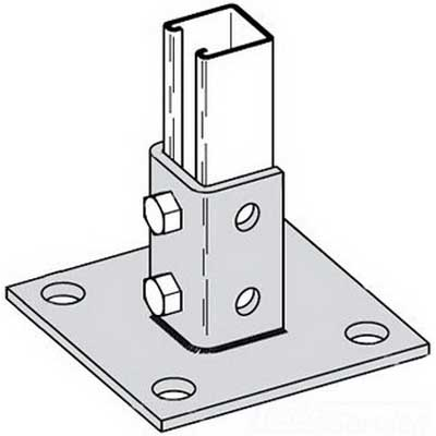 Cooper B-Line B280SQ-GRN Square Centered 4-Hole Post Base; Steel, Dura-Green™