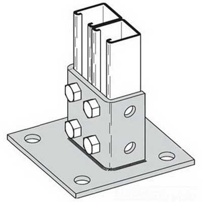 Cooper B-Line B281SQ-ZN Square Centered 4-Hole Post Base; Steel, Zinc Electroplated
