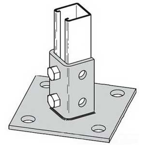 Cooper B-Line B280-ZN Square Centered Offset 4-Hole 45 Degree Post Base; Steel, Zinc Electroplated